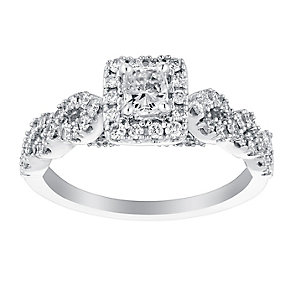 18ct white gold 75pt radiant cut solitaire diamond ring - Product number 3114694