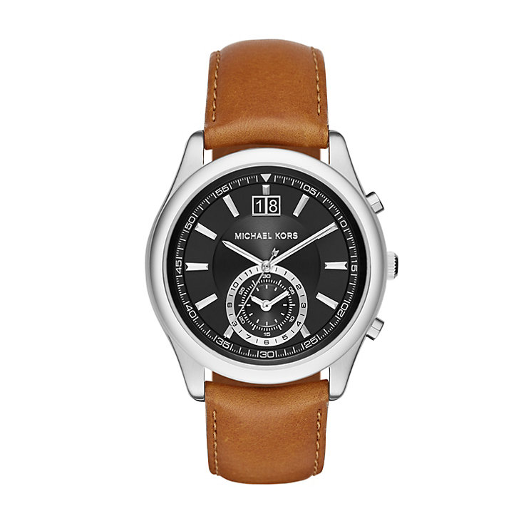 Michael Kors Aiden Men's Stainless Steel Brown Strap Watch - Product number 3139913