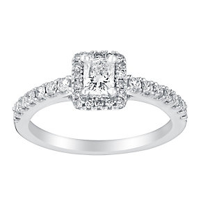 18ct white gold 75pt radiant cut solitaire diamond ring - Product number 3140024