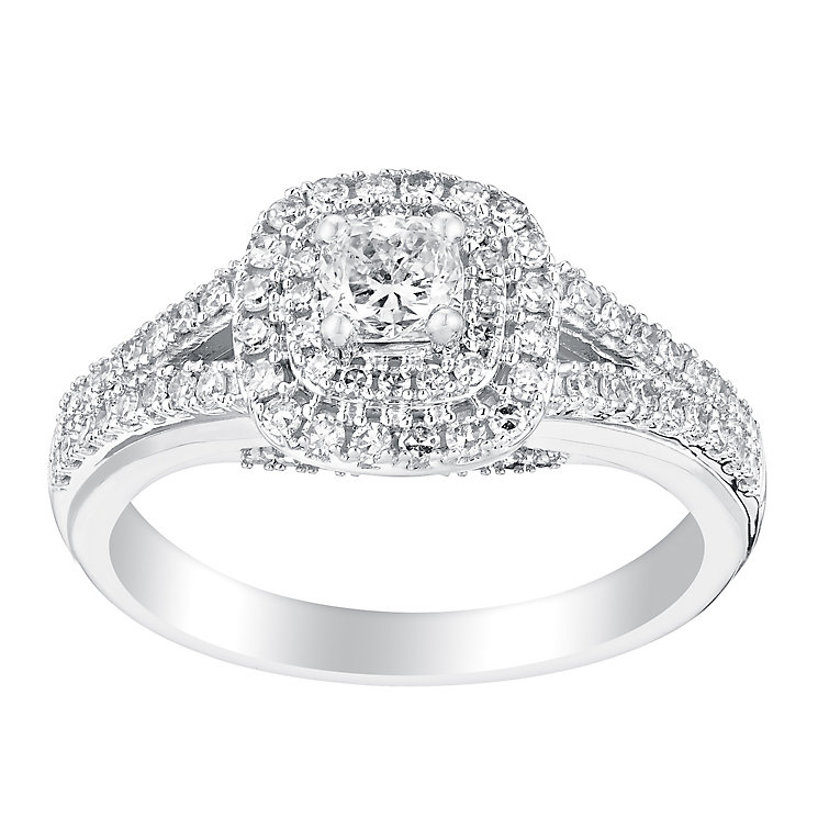 18ct white gold 0.75ct cushion cut halo diamond ring - Product number 3140261