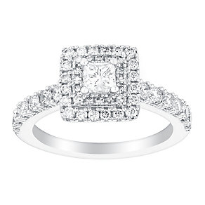 18ct white gold 1ct princess cut solitaire diamond ring - Product number 3140458