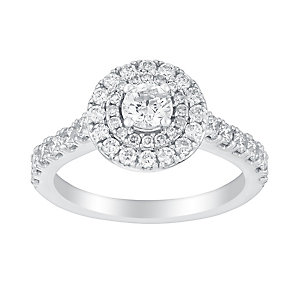 18ct white gold 1ct round cut solitaire diamond ring - Product number 3140660