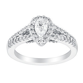 18ct white gold 0.75ct pear cut solitaire diamond ring - Product number 3140806