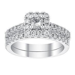 18ct white gold 1.25ct princess cut bridal set - Product number 3141241