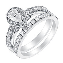 18ct white gold 1ct pear cut diamond halo bridal set - Product number 3141438