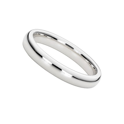 18ct white gold super heavy 3mm court ring