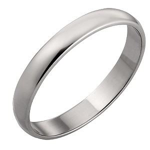 9ct White Gold 3mm Court Wedding Ring