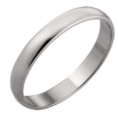 9ct White Gold 3mm Court Wedding Ring HSamuel