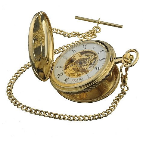 Jean Pierre gold-plated double hunter skeleton pocket watch