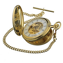 Jean Pierre gold-plated double hunter skeleton pocket watch - Product number 3158179