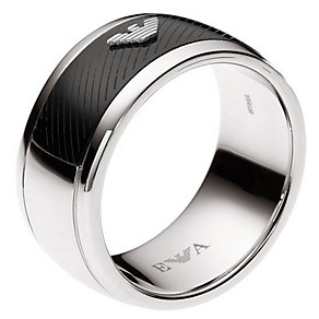 Emporio Armani men's stainless steel carbon panel ring V - Product number 3164705