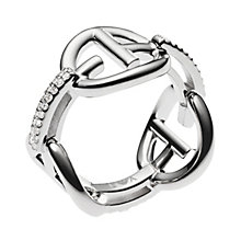 Emporio Armani Sterling Silver & Stone Set Logo Ring P - Product number 3167054