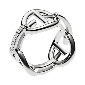 Emporio Armani sterling silver & stone set logo ring - Product number 3167054