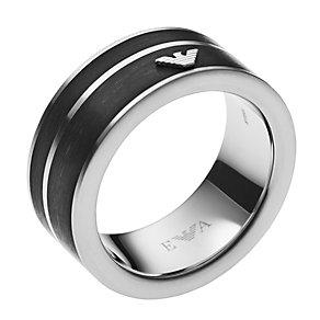 Emporio Armani men's black enamel logo ring size V - Product number 3168042