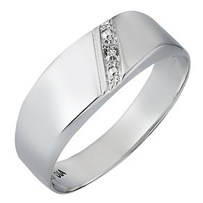 Men's 9ct White Gold Diamond Set Ring - Product number 3192075
