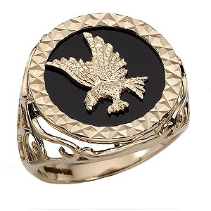Men's 9ct Gold Onyx Eagle Ring