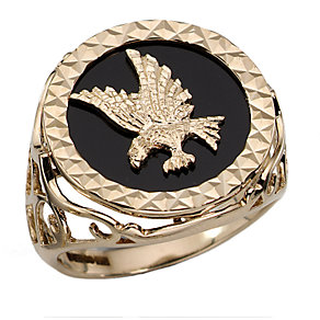 Men's 9ct Gold Onyx Ring - Product number 3192199