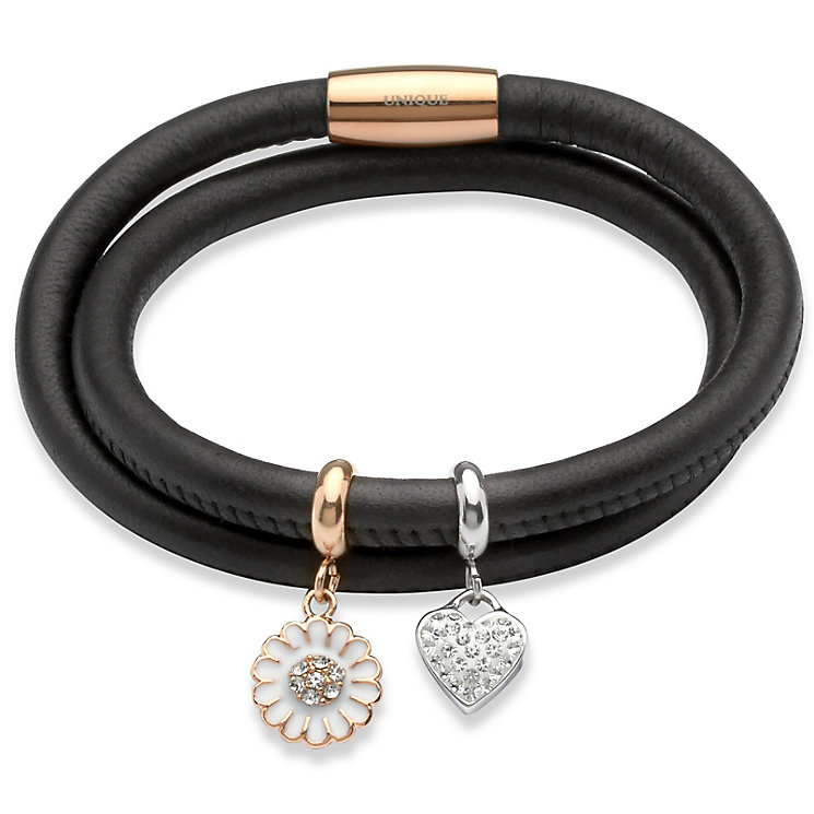Unique black leather & rose gold-plated steel charm bracelet - Product number 3233146