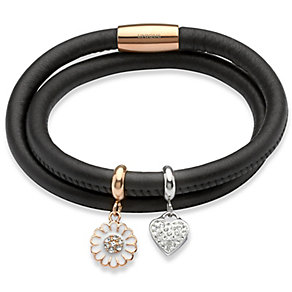 Unique black leather & rose gold-plated steel charm bracelet - Product number 3233146