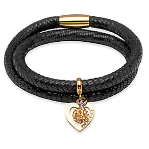 Unique black leather gold-plated steel two charm bracelet - Product number 3233154