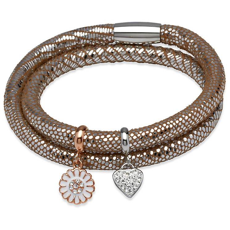 Unique silver leather & stainless steel two charm bracelet - Product number 3233162