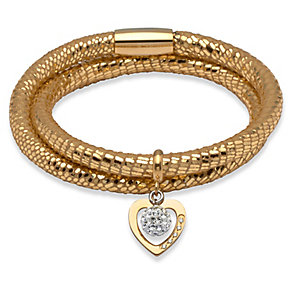 Unique gold leather gold-plated steel two charm bracelet - Product number 3233170