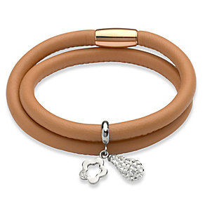 Unique sand leather stainless steel two charm bracelet - Product number 3233197