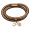 Unique bronze leather rose gold-plated steel charm bracelet - Product number 3233200