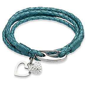 Unique teal leather stainless steel two charm bracelet - Product number 3233227
