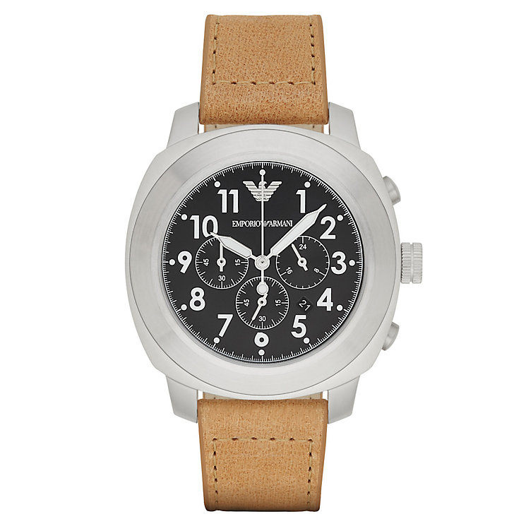 Emporio Armani Men's Brown Leather Strap Watch - Product number 3234797