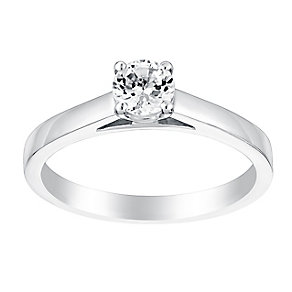 18ct white gold 40pt four claw set solitaire diamond ring - Product number 3272753
