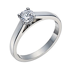 18ct white gold 50pt claw set mounted solitaire diamond ring - Product number 3272915
