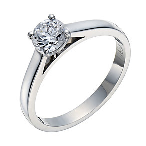 18ct white gold 66pt claw set mounted solitaire diamond ring - Product number 3273083