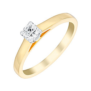 18ct yellow gold 1/4ct four claw set solitaire diamond ring - Product number 3273547