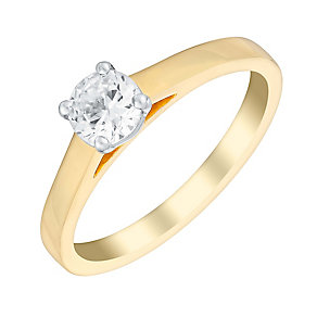 18ct yellow gold 1/2 carat claw set solitaire diamond ring - Product number 3274365