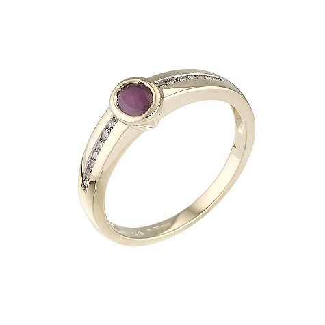 18ct gold ruby ring with diamond set shoulders