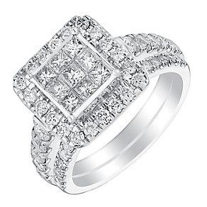 18ct white gold 1.5ct princess cut diamond bridal set - Product number 3349160