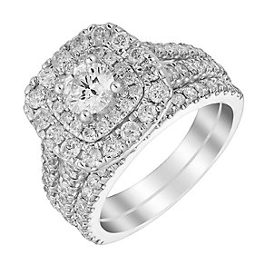 18ct white gold 2ct cushion cut diamond halo bridal set - Product number 3350096