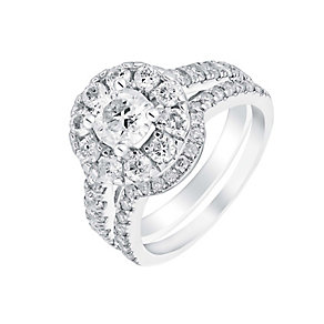 18ct white gold 2ct round cut diamond halo bridal set - Product number 3350274