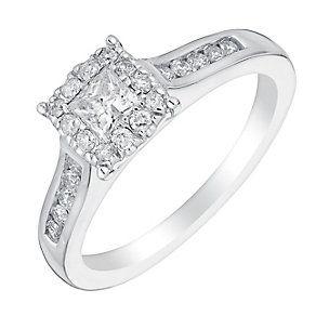 18ct white gold half carat square diamond cluster ring - Product number 3350746