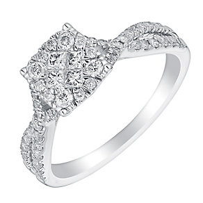 9ct white gold half carat diamond cluster crossover ring - Product number 3351041