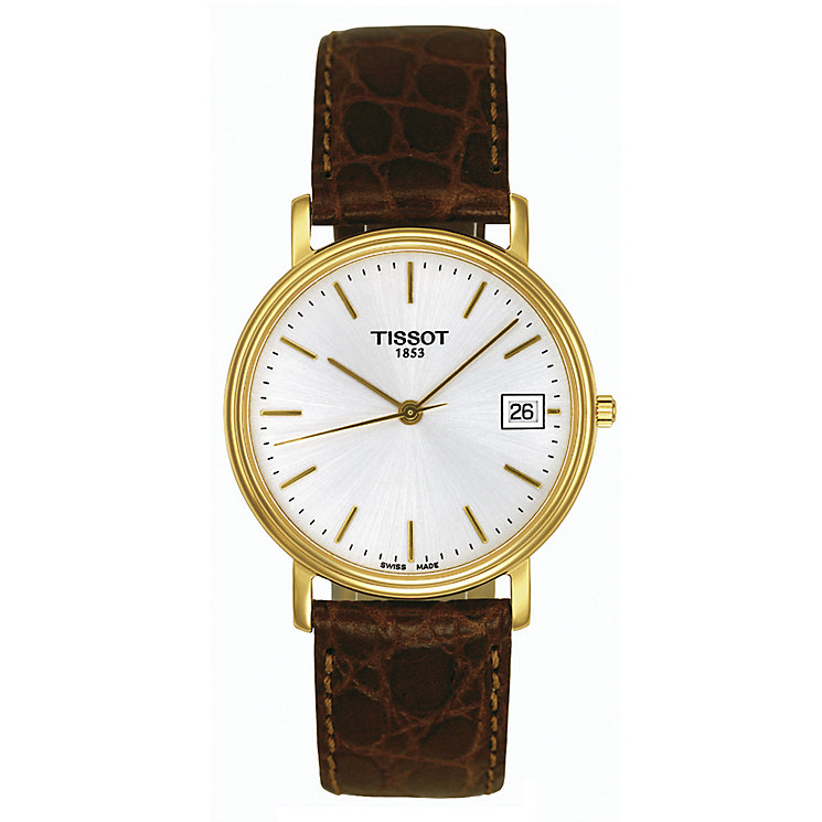 men s tissot watches ernest jones tissot men s gold plated desire strap watch product number 3365174
