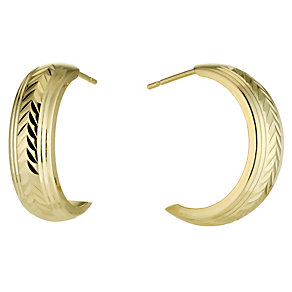 9ct Gold Diamond Cut Earrings - Product number 3368629