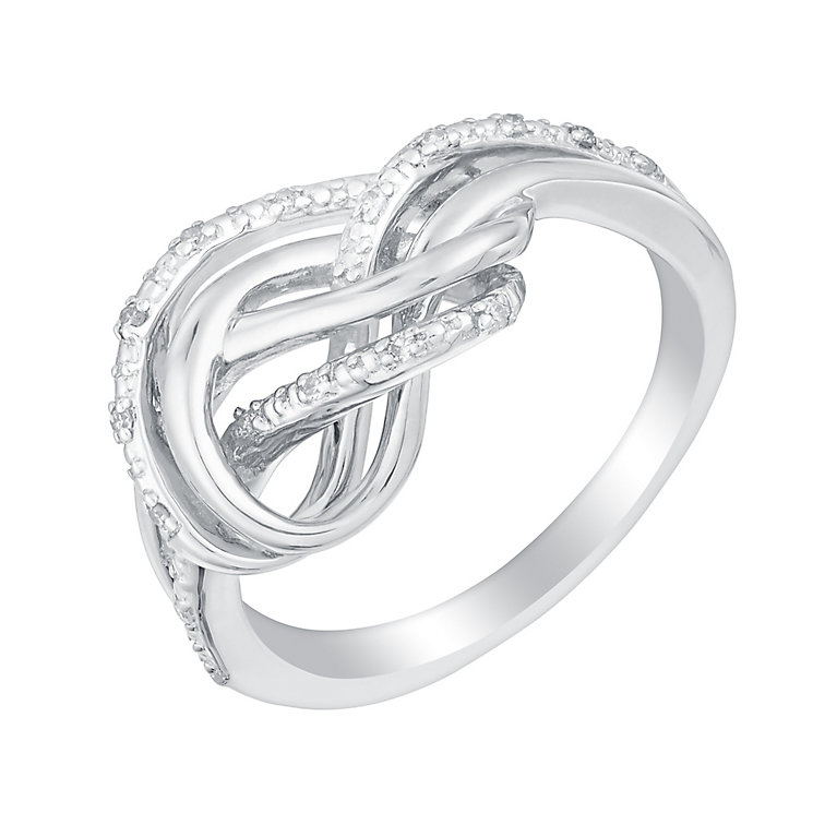 Sterling silver diamond knot ring - Product number 3392775