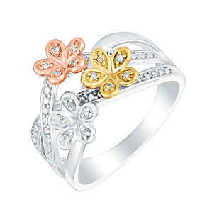 Sterling silver and gold-plated diamond flower ring - Product number 3392902