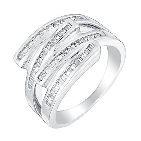 Sterling silver 30pt diamond wrap ring - Product number 3393089