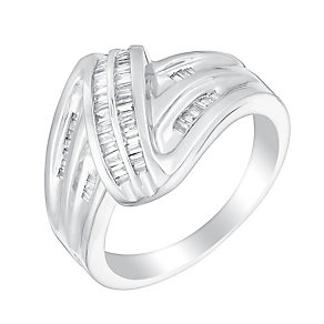 Sterling silver quarter carat diamond swirl ring - Product number 3393224
