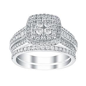 18ct white gold one carat three row diamond bridal set - Product number 3394042