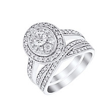 18ct white gold 1ct oval cut diamond bridal set - Product number 3394573