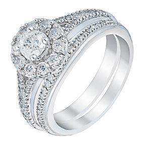 Platinum one carat solitaire diamond halo bridal set - Product number 3394743